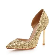 Женщины Мерцающая отделка Высокий тонкий каблук На каблуках Закрытый мыс обувь (085085999)