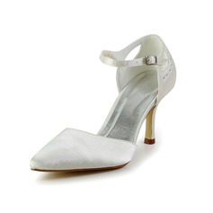 Vrouwen Satijn Spool Hak Closed Toe Pumps met Bergkristal (047034362)