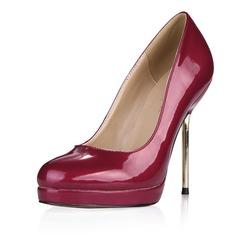 Лакированная кожа Высокий тонкий каблук На каблуках Платформа Закрытый мыс обувь (085058230)