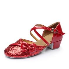 Женщины кожа Мерцающая отделка Сандалии Бальные танцы с бантом пряжка В дырочку Обувь для танцев (053111565)