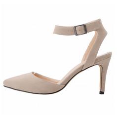 Женщины Замша Высокий тонкий каблук На каблуках Закрытый мыс обувь (085091917)