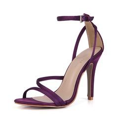 Kvinnor Plast Stilettklack Sandaler Pumps Peep Toe med Spänne skor (087154488)