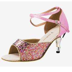 Kvinnor Satäng Glittrande Glitter Klackar Sandaler Latin med Sotled Rem Dansskor (053020314)
