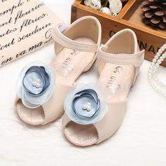 Jentas Titte Tå Leather flat Heel Sandaler Flate sko Flower Girl Shoes med Sateng Sløyfe Velcro (207112536)