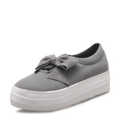 Женщины Замша Плоский каблук На плокой подошве Закрытый мыс с бантом обувь (086119387)