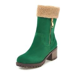 Femmes Similicuir Talon bottier Bottes Bottes mi-mollets avec Zip chaussures (088172637)