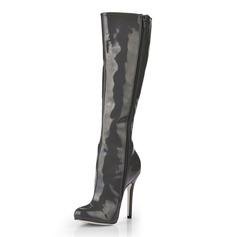 Patent Leather Stiletto Heel Pumps Closed Toe Knee High Boots shoes (088020544)
