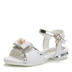 Jentas Round Toe Titte Tå Leather flat Heel Sandaler Flate sko Flower Girl Shoes med Bowknot Crystal (207167113)