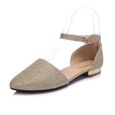 Kunstleder Niederiger Absatz Flache Schuhe Geschlossene Zehe mit Pailletten Schuhe (086063818)