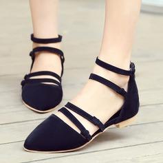 Femmes Suède Talon plat Sandales Chaussures plates Bout fermé avec Boucle Dentelle chaussures (086119361)