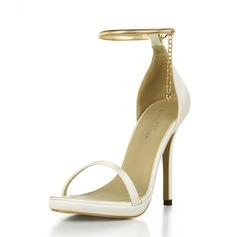 Kvinnor Plast Stilettklack Sandaler Pumps Peep Toe med Spänne skor (087154492)