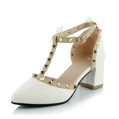 Women's Leatherette Chunky Heel Pumps Closed Toe shoes (085092735)
