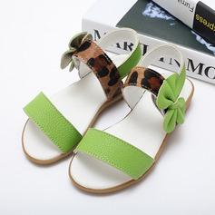 Jentas Titte Tå Ekte lær lav Heel Sandaler Flate sko med Blomst (207095562)