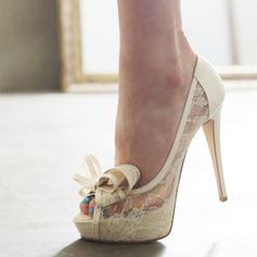 Женщины Кружева Высокий тонкий каблук Открытый мыс Платформа Beach Wedding Shoes с бантом (047126531)