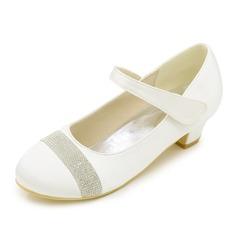 Lukket Tå lav Heel Pumps Flower Girl Shoes med Rhinestone (207111562)