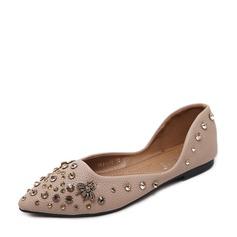 Женщины PU Плоский каблук На плокой подошве Закрытый мыс с горный хрусталь заклепки обувь (086139683)