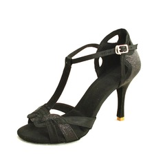 Women's Satin Sparkling Glitter Heels Sandals Latin With T-Strap Dance Shoes (053016432)