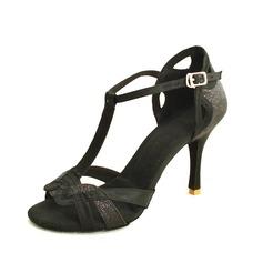 Женщины Атлас Мерцающая отделка На каблуках Сандалии Латино с Т-ремешок Обувь для танцев (053016432)
