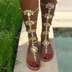 Женщины кожа Плоский каблук Сандалии Ботинки с горный хрусталь Застежка-молния обувь (087127916)