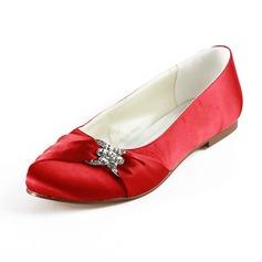 Vrouwen Satijn Flat Heel Closed Toe Flats met Bergkristal (047014109)