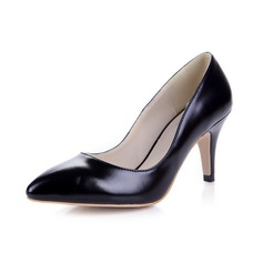Patent Leather Spool Hak Pumps Closed Toe schoenen (085038753)