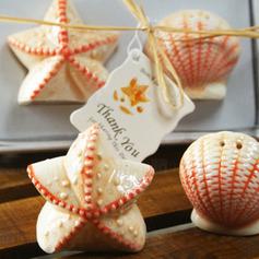 Шелл & Звезда керамика соль и перец шейкеры с Тег (Набор из 2 штук) (051011488)