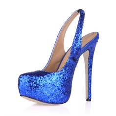 Women's Sparkling Glitter Stiletto Heel Pumps Platform Closed Toe shoes (085017466)