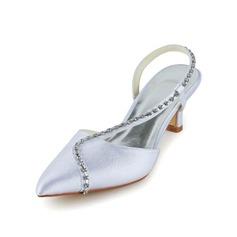 Vrouwen Satijn Cone Heel Closed Toe sandalen Slingbacks met Bergkristal (047039419)