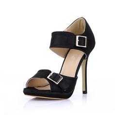 zijde als satijn Stiletto Heel Sandalen Plateau Peep Toe met Gesp schoenen (085022635)