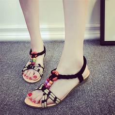 Женщины кожа Вид каблука Сандалии Открытый мыс Босоножки с развальцовка Другие Эластичная лента обувь (087121489)