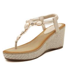Женщины кожа Вид каблука Сандалии с горный хрусталь обувь (087093240)