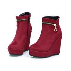Mulheres Camurça Plataforma Plataforma Calços Bota no tornozelo com Zíper sapatos (088098640)