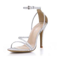 Женщины Мерцающая отделка Высокий тонкий каблук Сандалии обувь (087072657)