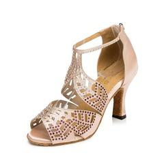 Женщины Атлас На каблуках Сандалии Латино с пряжка Цветок Обувь для танцев (053109176)