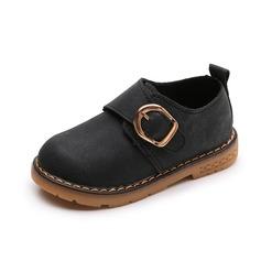 девичий Круглый носок дерматин Плоский каблук На плокой подошве Ботинки с пряжка (207149195)