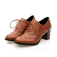 Женщины кожа Устойчивый каблук Закрытый мыс с Шнуровка В дырочку обувь (088104870)