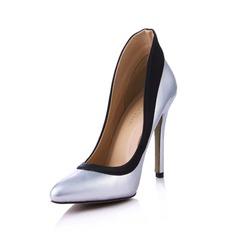 Couro como o cetim de seda Salto agulha Bombas Fechados com Divisão separada sapatos (085029175)