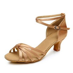 Women's Satin Heels Sandals Latin With Ankle Strap Dance Shoes (053092228)