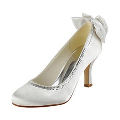 Vrouwen Satijn Stiletto Heel Closed Toe Pumps met Strik Lovertje (047020220)