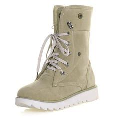 Женщины Замша Плоский каблук На плокой подошве Закрытый мыс Ботинки Сапоги до середины голени обувь (088100705)