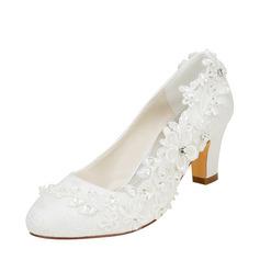 Женщины шелка как атласное Устойчивый каблук На каблуках с Вышитые кружева Цветок хрусталь жемчуг (047128165)