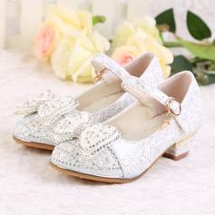 Girl's Closed Toe imitatieleer low Heel Pumps Bloemenmeisje schoenen met Kralen Gesp Sprankelende Glitter (207150951)