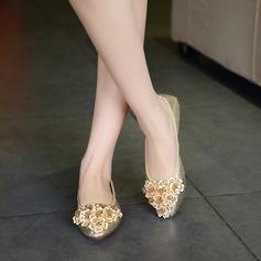 Donna PU Senza tacco Ballerine Punta chiusa con Strass scarpe (086142465)