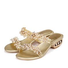 Mulheres Couro verdadeiro Salto baixo Sandálias Mary Jane Beach Wedding Shoes com Strass (047125408)