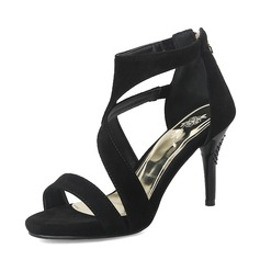 Mulheres Camurça Salto agulha Sandálias Bombas Peep toe com Zíper sapatos (085167130)