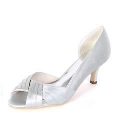 Women's Silk Like Satin Stiletto Heel Peep Toe Pumps With Ruffles (047170352)