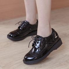 Женщины кожа Плоский каблук На плокой подошве Закрытый мыс с Шнуровка обувь (086134596)