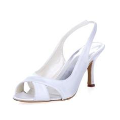 Vrouwen zijde als satijn Stiletto Heel Peep Toe Pumps Slingbacks (047042552)