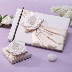 Elegant Faux Pearl/Flower Guestbook & Pen Set (101037361)