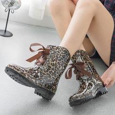 Женщины PVC Низкий каблук Ботинки Сапоги до середины голени Резиновые сапоги с Шнуровка обувь (088127048)